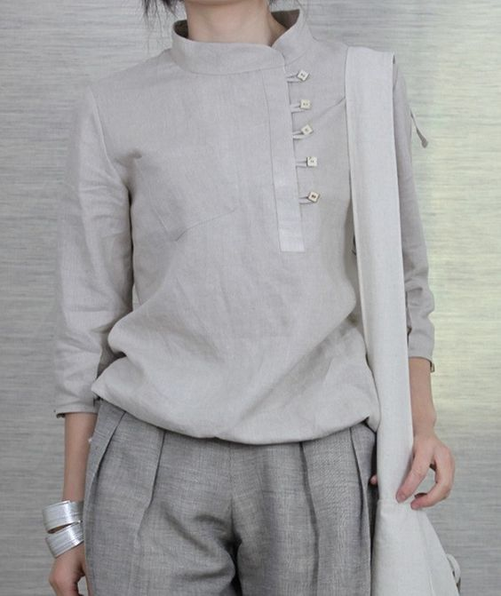 Side Buttons Round Collar Linen Shirt