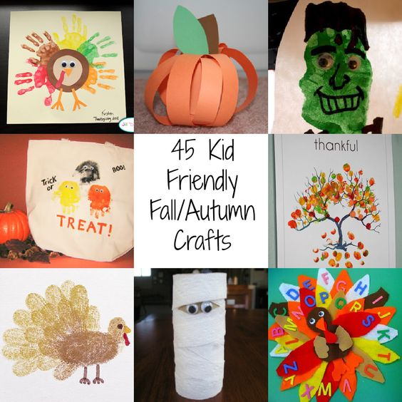 45 Kid Friendly Fall/Autumn Crafts | A Spectacled Owl  http://www.aspectacledowl.com/45-kid-friendly-fallautumn-crafts/