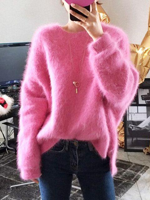 Cardigan Women Big Fox Fur Pocket Woolen Knit Loose casual Long Sweater Coat