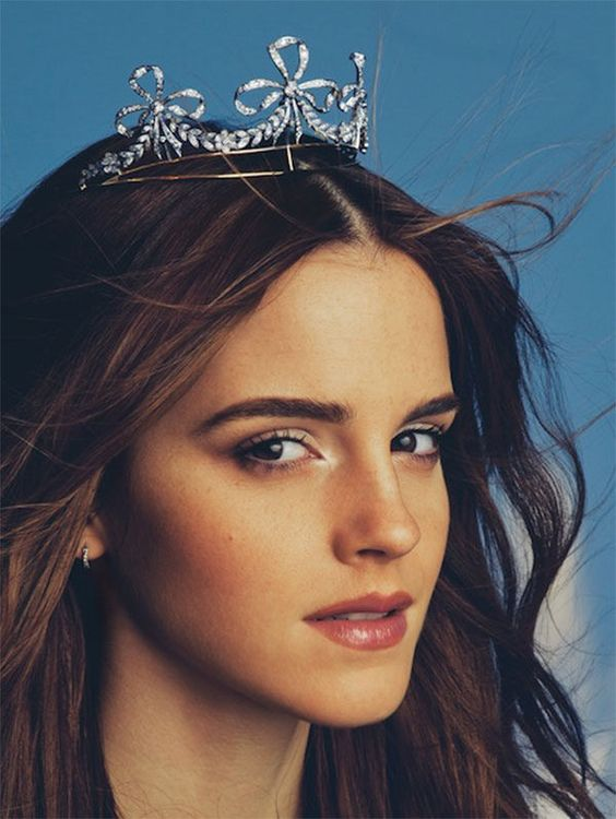 Emma Watson wearing a diamond bow tiara