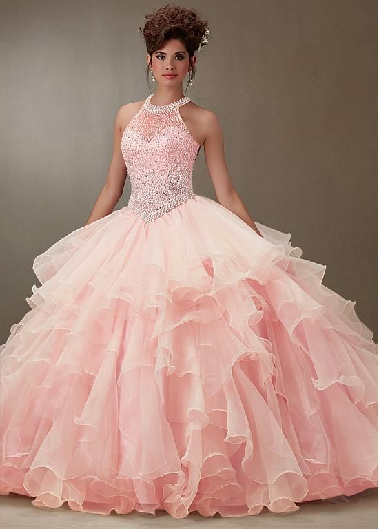 Charming Tulle & Organza Jewel  Neckline Ball Gown Quinceanera Dresses With Beadings & Rhinestones