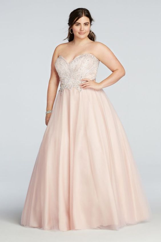 Blush Pink Plus Size Bridesmaid Dresses : Plus size crystal beaded strapless tulle prom dress