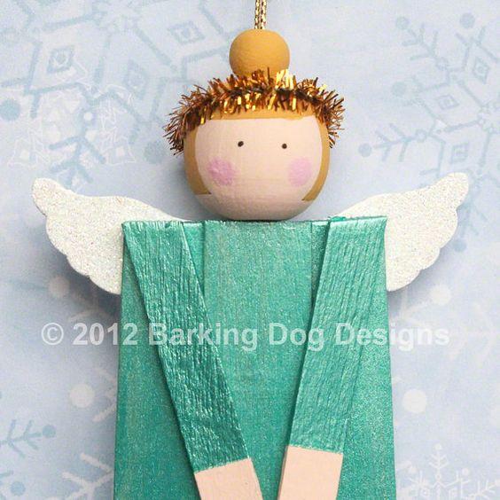 Wood Angel Christmas Ornament March Birthday by BarkingDogDesigns, $12.00