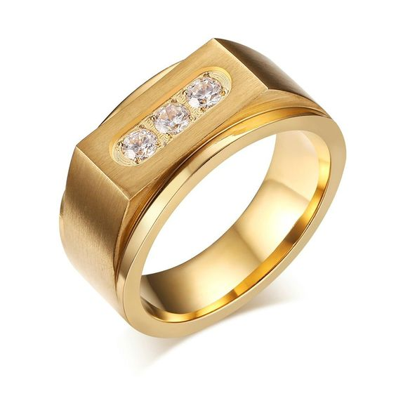 Adisaer Men's Stainless Steel Gold Plated Promise Ring Channel ...