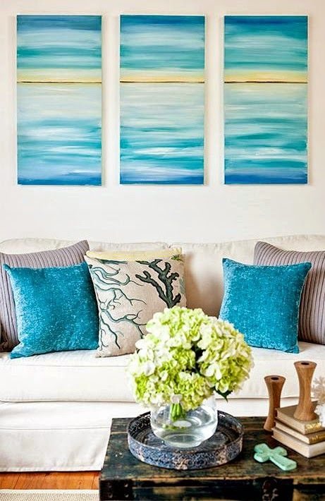 Easy paint ideas to bring coastal colors to your living - Easy painting ideas for living room ...