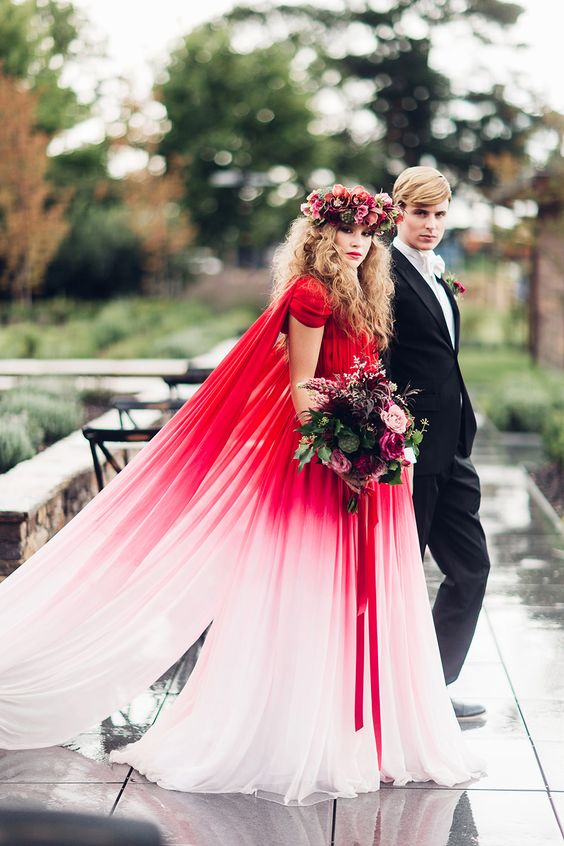 Ombre red wedding