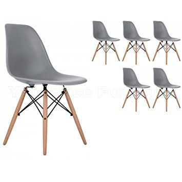 6 Grey Eiffel Style DSW Side Dining Chairs Exclusively by Your Price Furniture in Quality ABS Moulded Plastic with Beech Legs