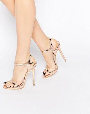 Public Desire Sparra Gold Barely There Heeled Sandals: