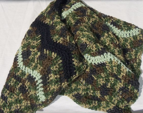by request.... camo baby blanket in ripples stitch