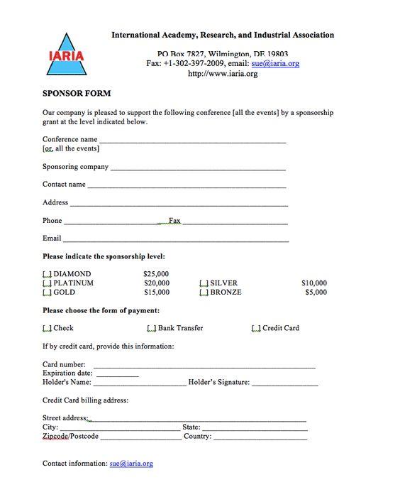 Doc725946 Template Sponsor Form Sponsorship Form Template – Charity Sponsor Form Template