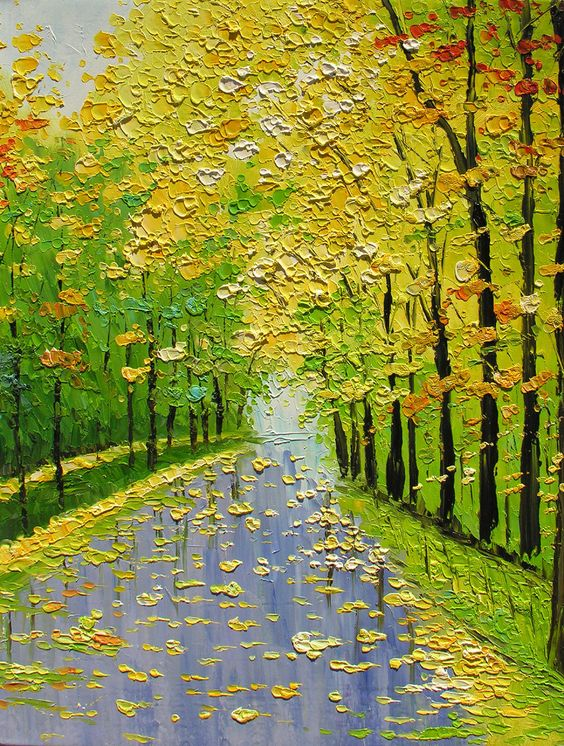 ORIGINAL Oil Painting Golden Fall 30 X 23 Palette Knife Texture Colorful Trees Landscape Gold Yellow Green Park Rain ART by Marchella. $265.00, via Etsy.: