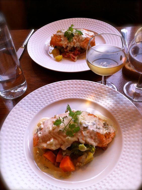 Salmon with Tarragon sauce & Braised Vegetables at Chez Léna et Mimile