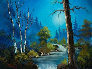Bob Ross Painting - Moonlight Stream by C Steele                                                                                                                                                                                 More: