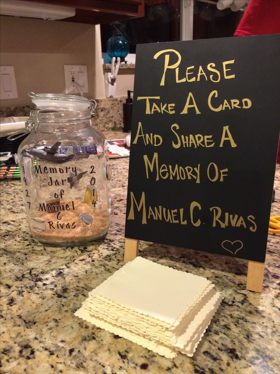 Memory jar for funeral This is what I would want a celebration of a life well lived: