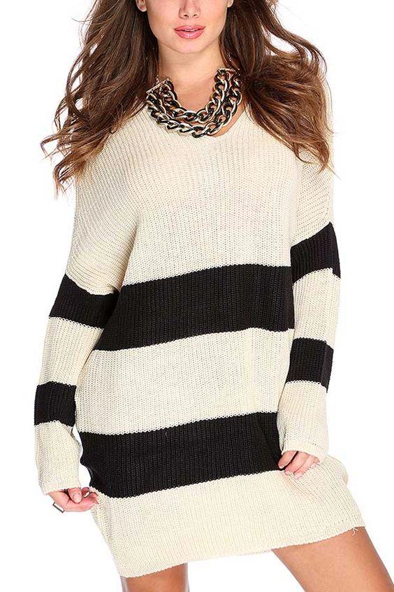 Beige Two Tone Horizontal Stripe Sweater Dress #Beige #Dress #maykool