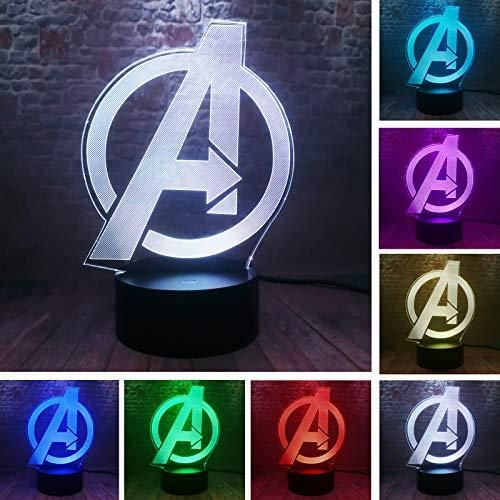 Avengers Logo Marvel Comics Night Light The Avengers 4 Sign Model 3d Illusion Led Usb Touch Colourful Lamp Marvel Avengers Endgame Logo Figuras In 2020 Night Light Illusions Marvel Avengers