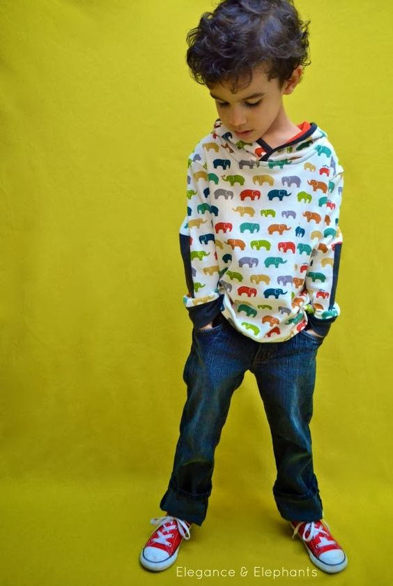 Autumn 2013 Ottobre issue - cool kids' sweatshirt with patches and hood.  Elegance & Elephants: L'oiseau - High Quality Imported Fabric, Trim, and Patterns