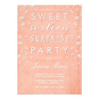Sweet Sixteen Surprise Party Invitation #sweet16 #sweetsixteen #birthday #birthdayinvitations  Visit our site to see our full collection of Sweet 16 birthday party invitations www.tropicalpapers.com