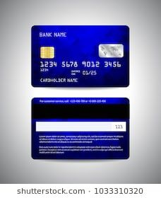 Realistic Detailed Credit Cards Set With Colorful Blue Abstract Mosaic Design Background Front And Back Credit Card App Debit Card Design Prepaid Credit Card