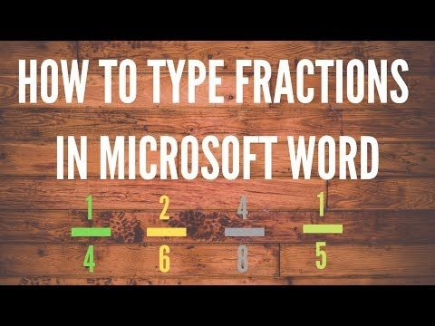 How To Type Fractions In Microsoft Word Youtube Fractions Microsoft Word Words
