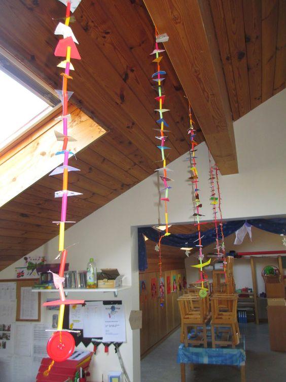 Bunte Dekoration für den Kindergarten Schneidübung