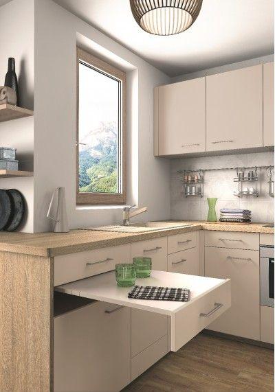 Cuisine avec plan de travail en bois et tiroir table for Table de cuisine en bois