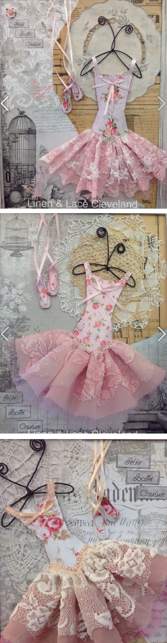 Idea for wall art or something fun to do :) Love the paper and lace ballerina dress and paper shoes! :D