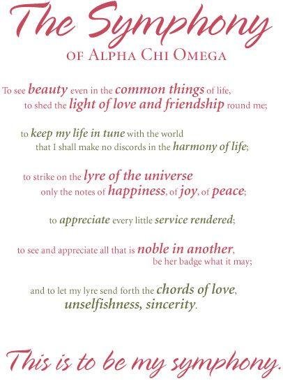"""The Symphony of Alpha Chi Omega"""