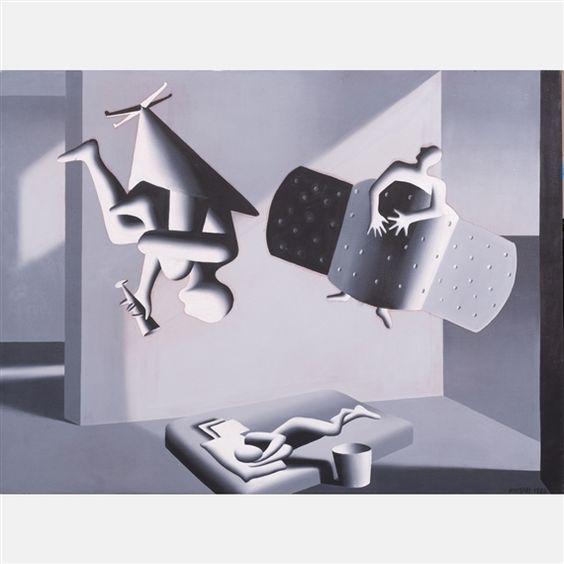 Mark Kostabi - Positive, 1988, Oil on canvas