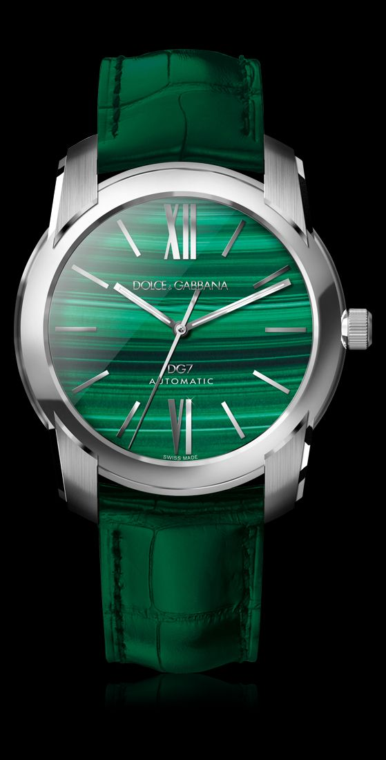 d g watches s steel and malachite