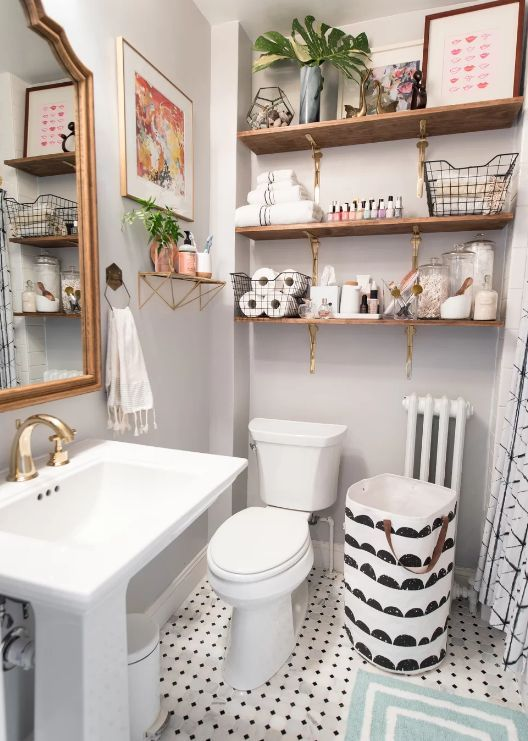Office Bathroom Reveal Bower Power Small Bathroom Decor Small Bathroom Makeover Small Bathroom Remodel