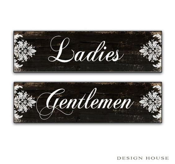 Restroom Signs Ladies Gentlemen Signs Bathroom Signs Restroom Decor Business Signs Powder Room