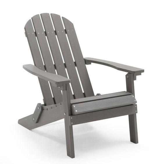 Belham Living All Weather Resin Wood Adirondack Chair - Gray