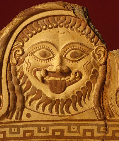 Fragmentary roof ornament with Medusa.  Etruscan, 550 - 500 B.C.  The J. Paul Getty Museum