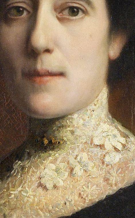 Franz Stuck, Portrait of a Lady with lace collar, detail Er zit niet alleen een plekje op haar bovenlip, maar ook een broche op haar kraag...