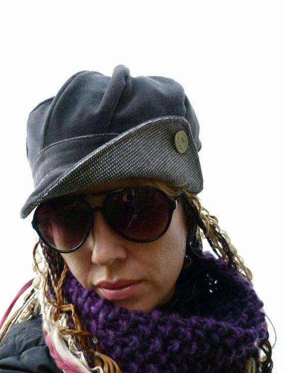Newsboy cap  Gray velvet/tweed  womens hat womens by moaningminnie, $45.00