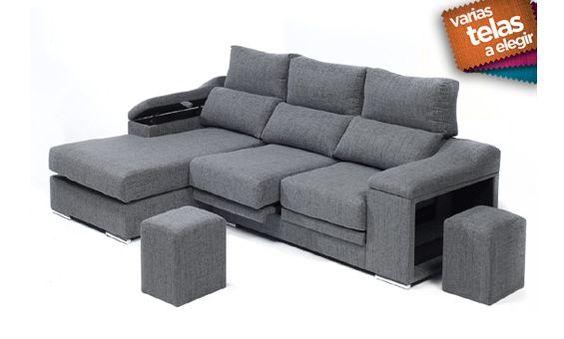 Sofá chaise longue izquierda en tela, dos puff y asientos deslizantes. Varios colores.