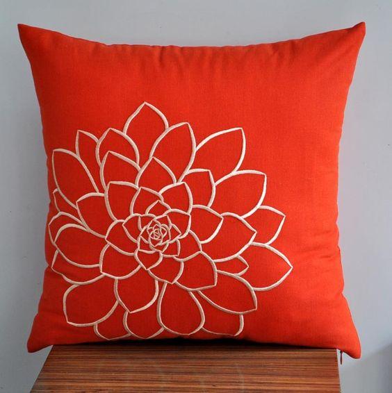 Orange Pillow Cover, Decorative Pillow Cover, Throw Pillow, Toss Pillow, Orange Linen, Beige ...
