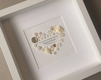 Golden Anniversary Art 50th Anniversary Button Art Traditional Gift Golden Golden Anniversary Gifts 50th Anniversary Gifts Golden Wedding Anniversary Gifts
