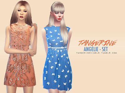My Sims 4 Blog: Dresses, Top and Shorts by Tangerine