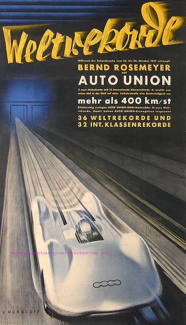 Welt Rekord, World Record, 1937, Auto Union (Audi), 400 Km/h , 248 mph, Bernd Rosemeyer, 16-Zylinder Stromlinien-Rennwagen Typ C
