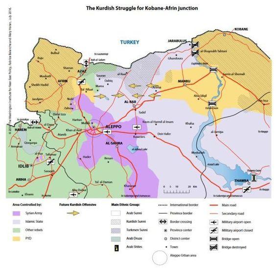 Die militärische Lage in Syrien. (Grafik: WINEP)