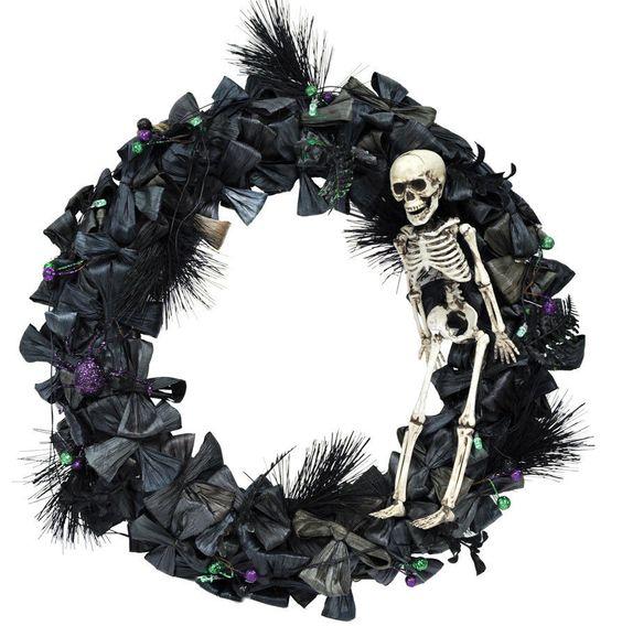 Halloween skeleton wreath lighted haunted house prop decoration - halloween lighted decorations