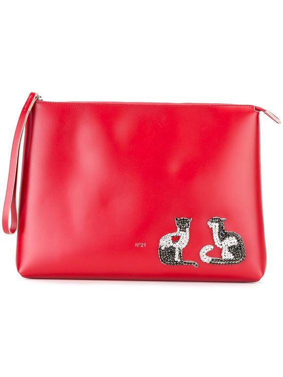 Nº21 embellished cat clutch