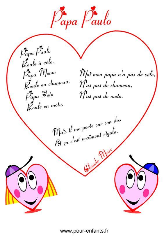 Fête des pères | Poème humoristique à imprimer en images poemes avec coeurs fete des peres humour papa