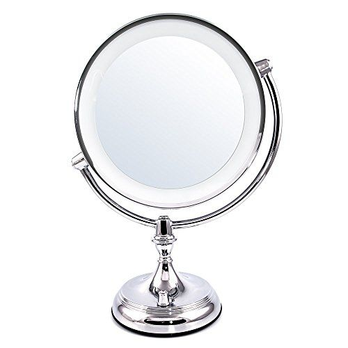 Conair Oval Double-Sided Lighted Makeup Mirror, Polished Chrome Finish