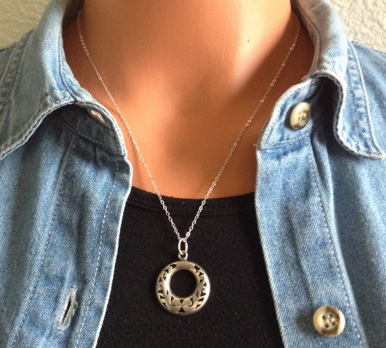 Mexican silver pendant on sterling silver chain by TiarasNJewels on Etsy