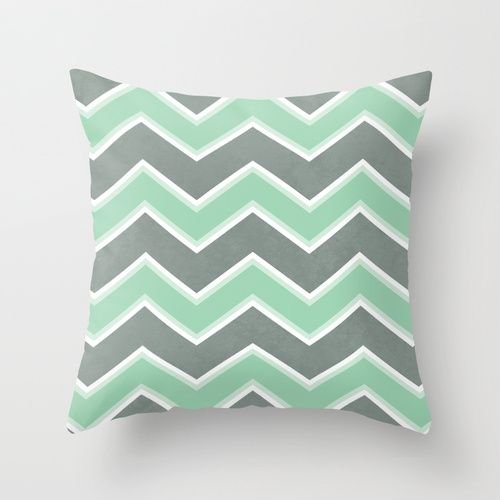 mint throw pillow | Gray Mint Chevron Throw Pillow by Dale Keys | Society6