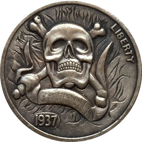 "1937 US Buffalo Modern Skull /""Hobo/"" Nickel"