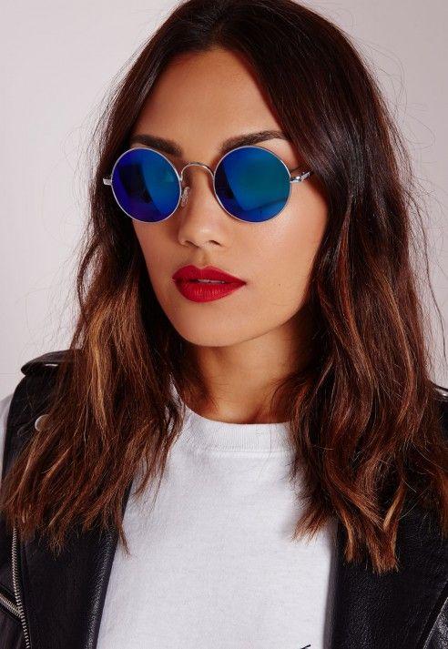 Lunettes de soleil rondes à verres miroir bleus - Accessoires - Missguided